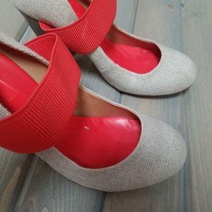 BCBGMaxAzria Shoes - BCBGMAXAZRIA | Beige Red Color Block Nikki Heel 9